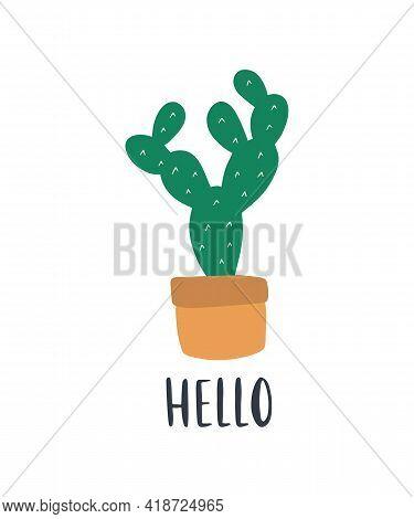 Hand-drawn Tropical House Plant Cactus. Trendy Cozy Home Decor. Cute Flower In Yellow Pot. Urban Jun