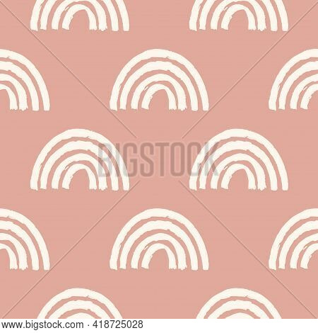 Magic Seamless Pattern With Modern Rainbows. Hand Drawn Boho Nursery Rainbow Illustration On Pink Ba