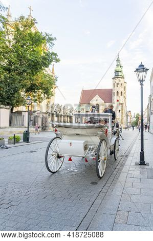 Krakow Poland August 2020. Street Scene And Saints Peter And Paul Church, Krakow, Old Town, Poland