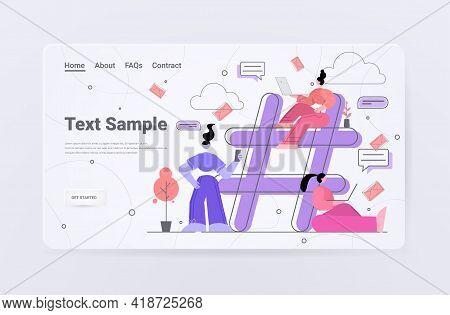 People Sharing Information On Hashtag Media Marketing Advertising Blogging Social Network Communicat