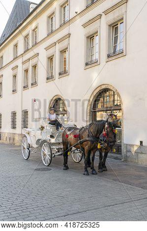 Krakow Poland August 2020. Horse Taxi , Krakow, Old Town, Lesser Poland, Poland Europe
