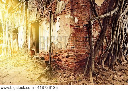 Ruins Of Old Abandoned Of Red And White Bricks Of Building, The Dilapidated Remains Of An Ancient Te