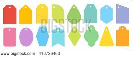 Price Tag Colorful Icon Set. Different Shapes Flat Labels For Retail Business, Sale Market Promotion