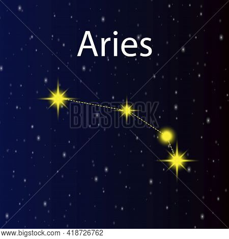Modern Constellation Aries, Great Design For Any Purposes. Graphic Abstract Background. Vector Illus
