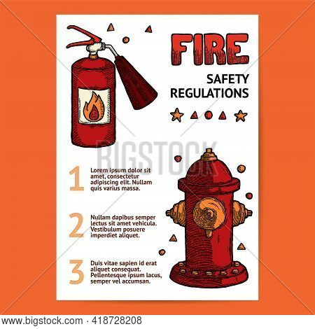 Firefighting Vintage Elements Extinguisher And Fire Hydrant, Fireman Tools Vector. Rescue Equipment