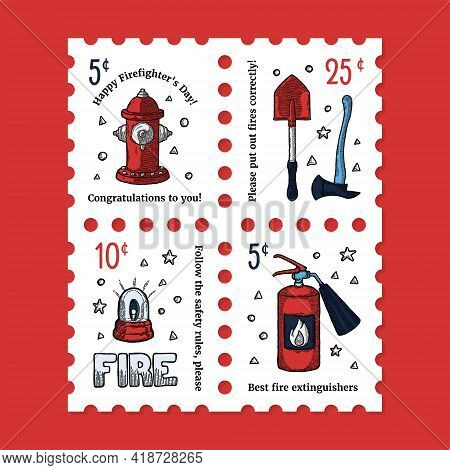 Firefighter And Fireman Tools Postage Stamp. Side View. Various Professional Tools And Equipment For