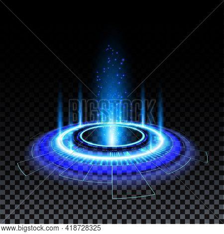 Blue Hologram Portal. Magic Fantasy Portal. Magic Circle Teleport Podium With Hologram Effect. Vecto