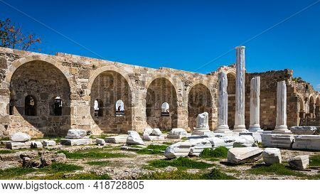 An Antique Ruined City Of Columns.ruin. View Of The Ancient City In Side, Turkey.