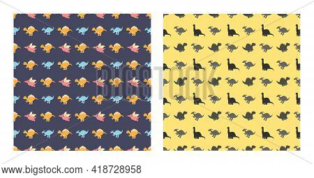 Cute Cartoon Dinosaurs Seamless Pattern As Spinosaurus, Parasaurolophus, Stegosaurus, Tyrannosaurus,