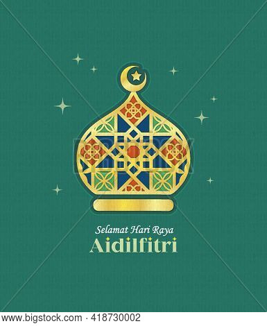 Hari Raya Aidilfitri Greeting Card. Gold Line Art Mosque Symbol Flat Design. Modern Morocco Islamic