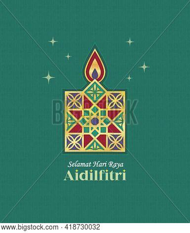 Hari Raya Aidilfitri Greeting Card. Gold Line Art Pelita (oil Lamp) Symbol Flat Design. Modern Moroc