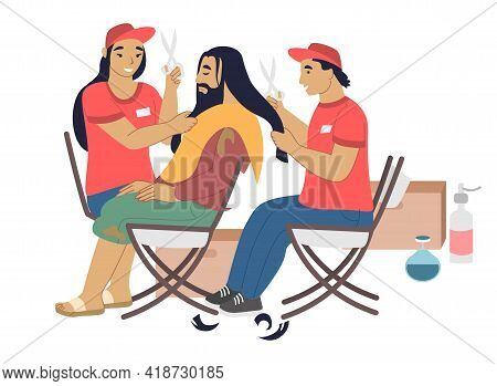 Volunteers Barbers Cutting Hair Of Homeless Person, Flat Vector Illustration. Care For Homeless, Vol