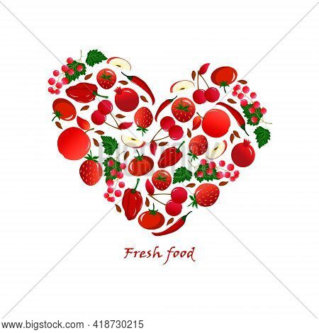 Card With Fresh Fruits And Vegetables - Strawberries And Cherries, Apples And Pomegranates, Peppers