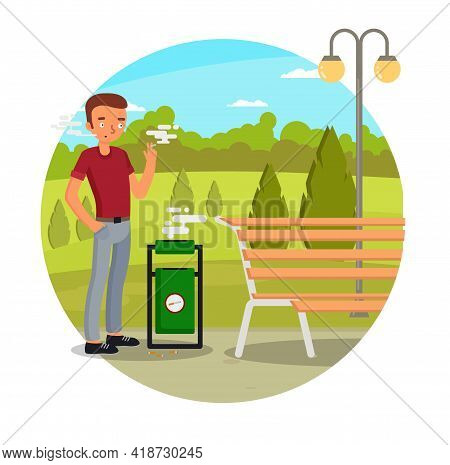 Young Man Passive Smoker Smoking Cigarette In City Park, Vector Illustration. Nicotine Dependence, T