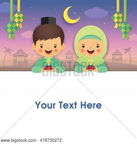Hari Raya Aidilfitri Greeting Template Design Or Copy Space. Muslim Kids Holding Pelita Oil Lamp Wit