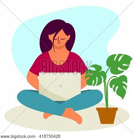 Girl Sitting In Lotus Position And Working On A Laptop. Color Vector Illustration