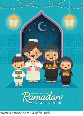 Ramadan Kareem Greeting Illustration. Cartoon Muslim Or Arab Family Celebrate Festival At Home Flat
