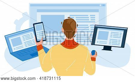 Front End Development Developer Occupation Vector. Young Man Working At Computer, Front End Developm