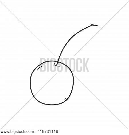 Illustration Vector Of Cherry Fruit. Cherry Line Icon. Cherry Sketch