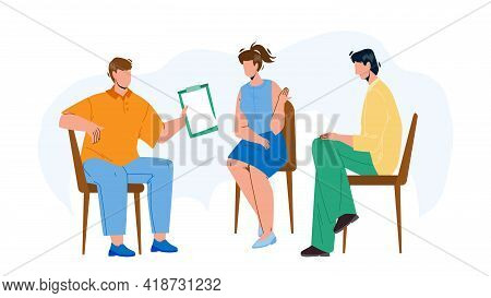 Team Group Discuss And Communicate Together Vector. Young Men And Woman Team Group Sitting On Chairs
