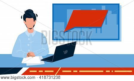 Tv News Presenter In Television Studio Vector. Newsreader Presenting Tv News, Laptop And Paper Lists