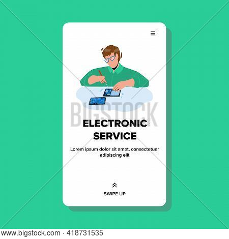 Electronic Service Worker Repair Device Vector. Electronic Service Employee Fixing Smartphone On Wor