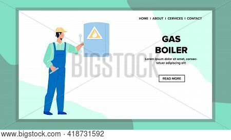 Gas Boiler Equipment Checking Repairman Vector. Heating Gas Boiler Check Technician Service Worker.