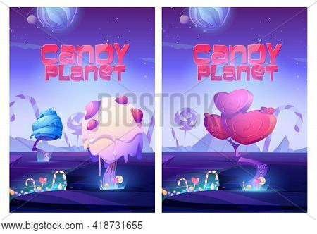 Candy Planet Posters With Unusual Trees From Cream And Caramel In Heart Shape, Candy Canes And Lolli