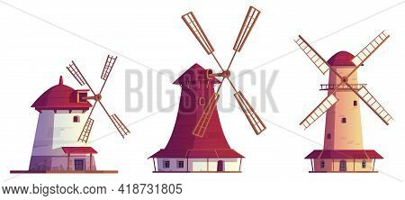 Cartoon Windmills Antique Buildings. Traditional Wind Mills For Flour Grinding, Rural Structure With