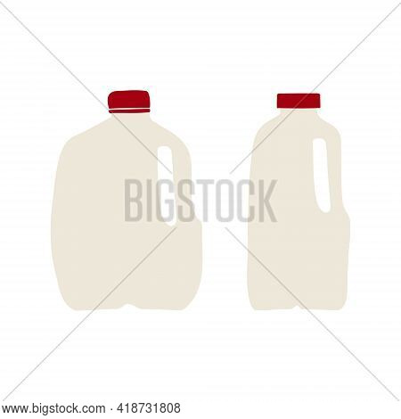 Hand Drawn, Flat Vector Illustration Of Milk In Plastic Gallon And Half-gallon Jug With Red Cap. Iso