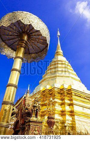 Golden Pagoda Wat Phra That Doi Suthep Chiangmai Thailand