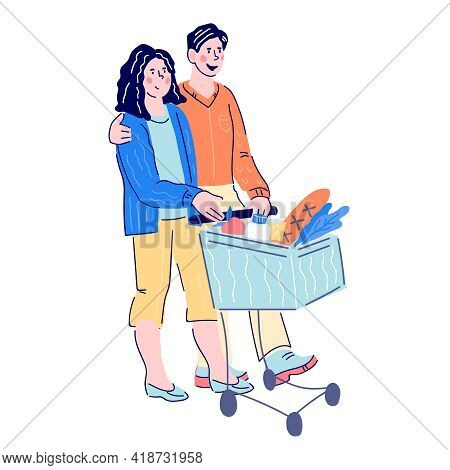 Young Couple Shopping In Supermarket, Cartoon Vector Illustration Isolated On White Background. Man