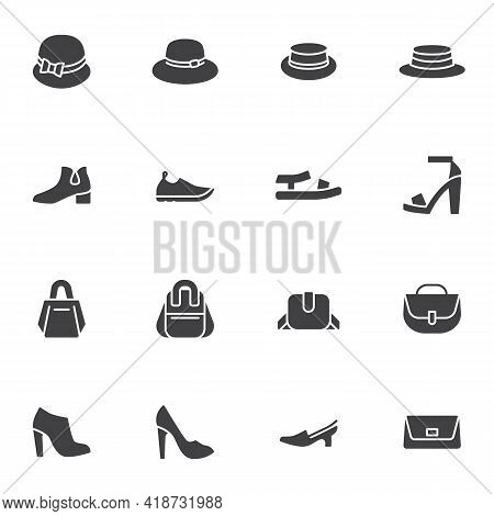 Women Accessory Vector Icons Set, Modern Solid Symbol Collection, Filled Style Pictogram Pack. Signs
