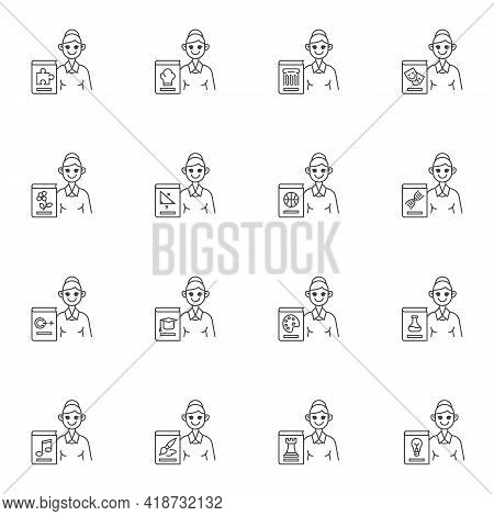 School Teacher Line Icons Set, Outline Vector Symbol Collection, Linear Style Pictogram Pack. Signs,