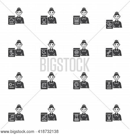 School Teacher Vector Icons Set, Modern Solid Symbol Collection, Filled Style Pictogram Pack. Signs,