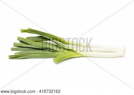 Green Onion, Spring Onion, Scallion Isolated On White Background.