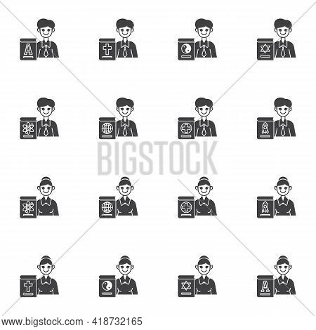 Man And Woman Teacher Vector Icons Set, School Teacher Modern Solid Symbol Collection, Filled Style
