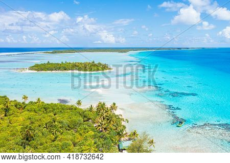 Rising sea levels and climate change concept photo French Polynesia. Global warming and rising sea levels are a threat to Fakarava, Rangiroa and its unique ecosystem. Tahiti drone travel image