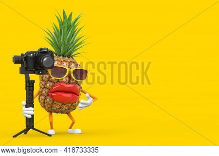 Fun Cartoon Fashion Hipster Cut Pineapple Person Character Mascot With Dslr Or Video Camera Gimbal S