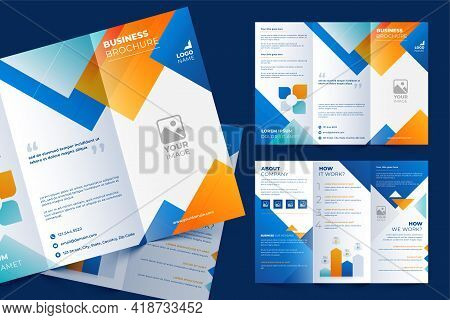 Tri-fold Brochure Template In Modern Style With Creative Shapes And Space For Photo. Universal White