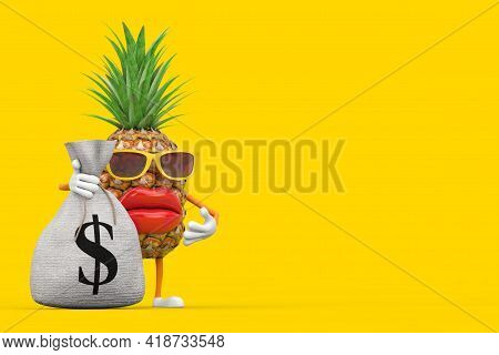 Fun Cartoon Fashion Hipster Cut Pineapple Person Character Mascot With Tied Rustic Canvas Linen Mone