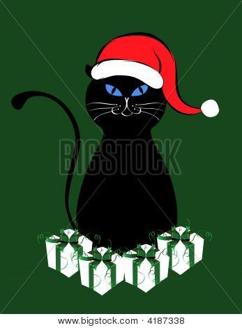 Black Cat With A Santa Claus Hat