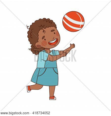 Little African American Girl In Kindergarden Running And Playing Ball Vector Illustration