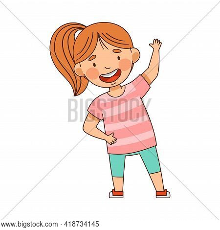 Energetic Little Girl With Ponytail In Kindergarden Doing Physical Exercise Vector Illustration