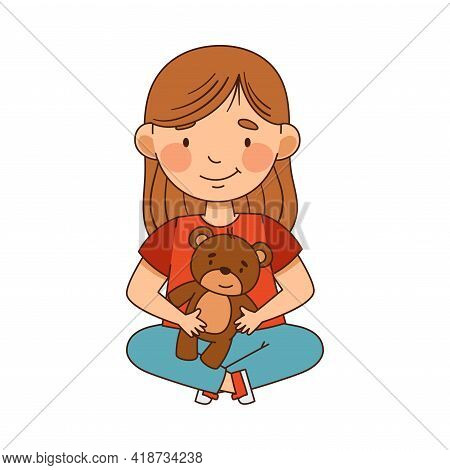 Smiling Little Girl In Kindergarden Sitting On The Floor And Playing With Teddy Bear Vector Illustra