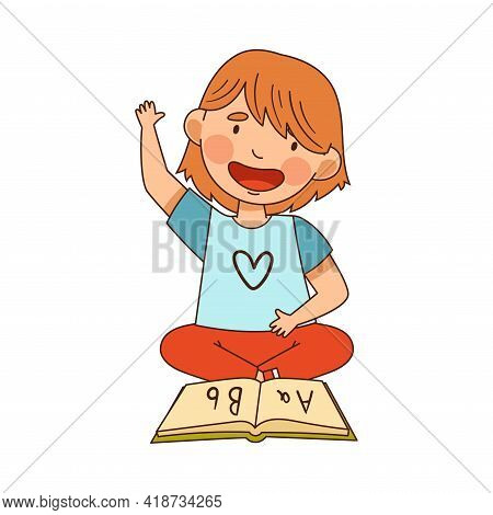 Little Girl In Kindergarden Sitting On The Floor With Book And Learning English Alphabet Vector Illu