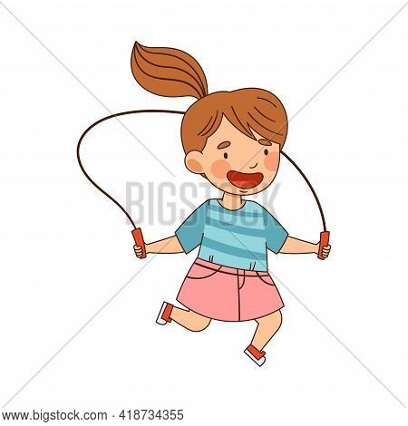 Funny Little Girl With Ponytail In Kindergarden Skipping Rope Vector Illustration