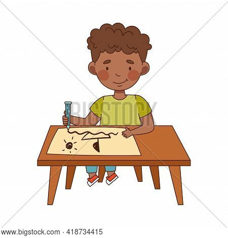 Little African American Boy In Kindergarden Sitting At Desk With Pencil And Drawing Vector Illustrat