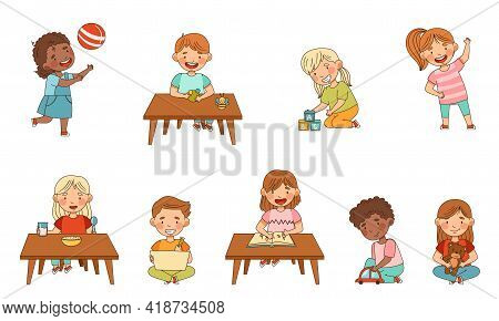 Little Kids In Kindergarden Learning Alphabet, Playing Toy Blocks, Drawing And Eating Porridge Vecto