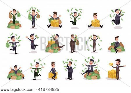 Rich Businessman Character Holding Banknotes And Jumping With Joy Vector Illustration Set